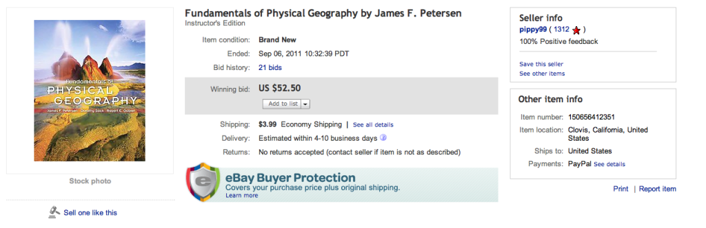 Ebay Auction of Fundamental of Physical Geography