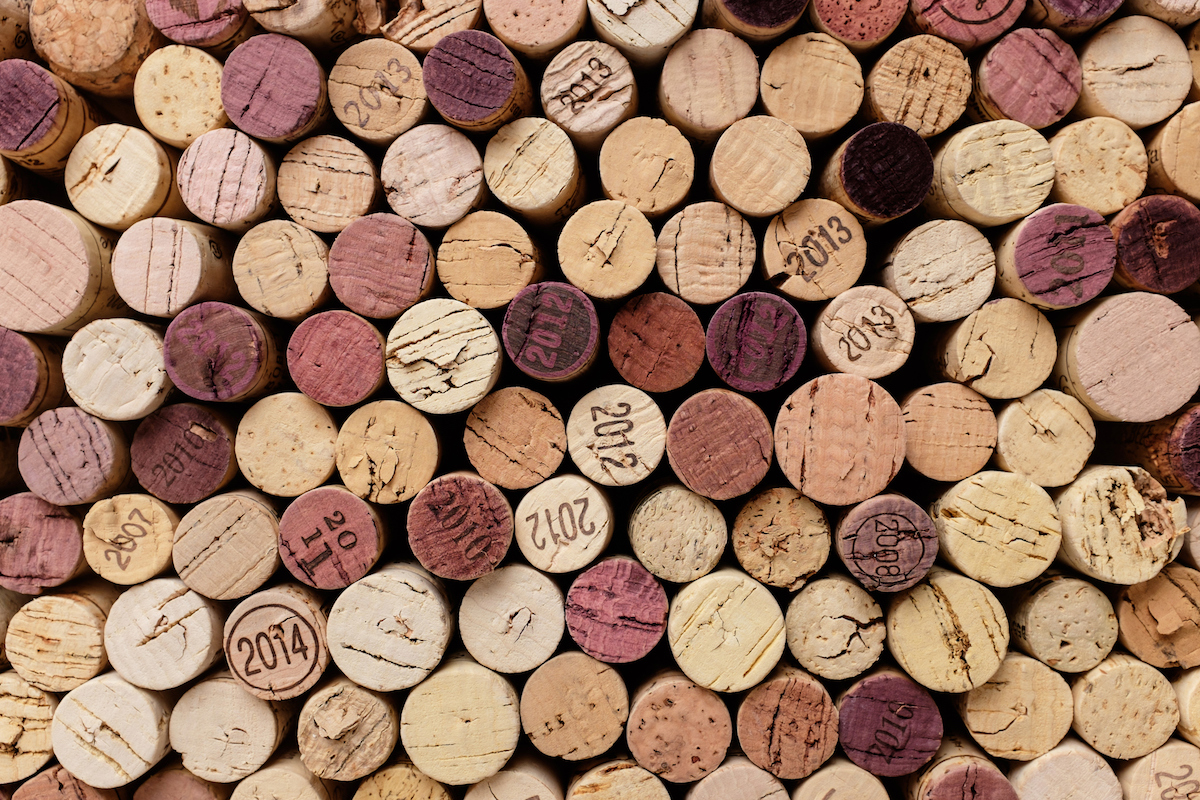 wine corks photographed over top