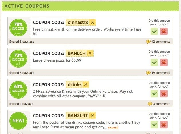 Image: Coupon codes