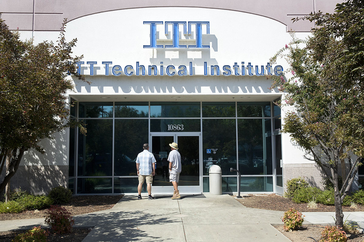 exterior of the closed ITT Technical Institute campus in Rancho Cordova, Calif.