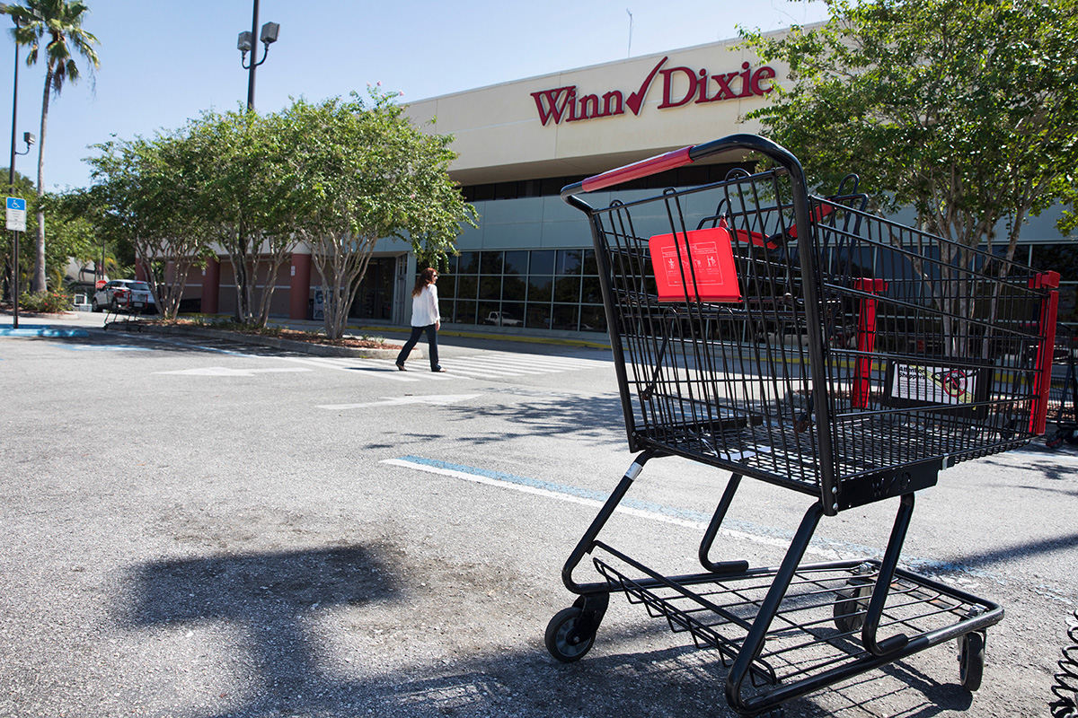 A shopping cart was left in the middle of a parking spot at Winn-Dixie in St. Petersburg, Florida.