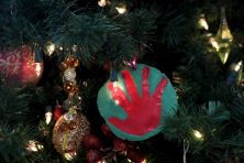 DIY hand print christmas ornament