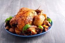 Roast chicken with potato and mushrooms on plate