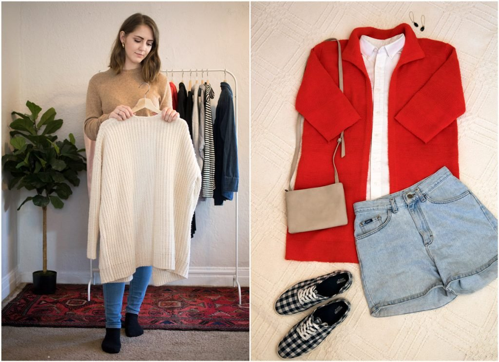 In this side by side photo, a woman holds a sweater on a hanger, an item she decided to keep in her capsule wardrobe. The second photo is one of her looks in her capsule wardrobe: earrings, a red jacket, white blouse, blue jean shorts and checkered pattern sneakers.