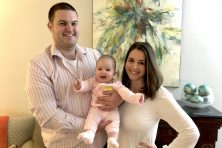 Writer Sarah Landrum, pictured with her husband and baby daughter