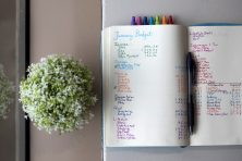 A notebook opened to pages with a budget that was hand-written with colorful markers sits on a windowsill.