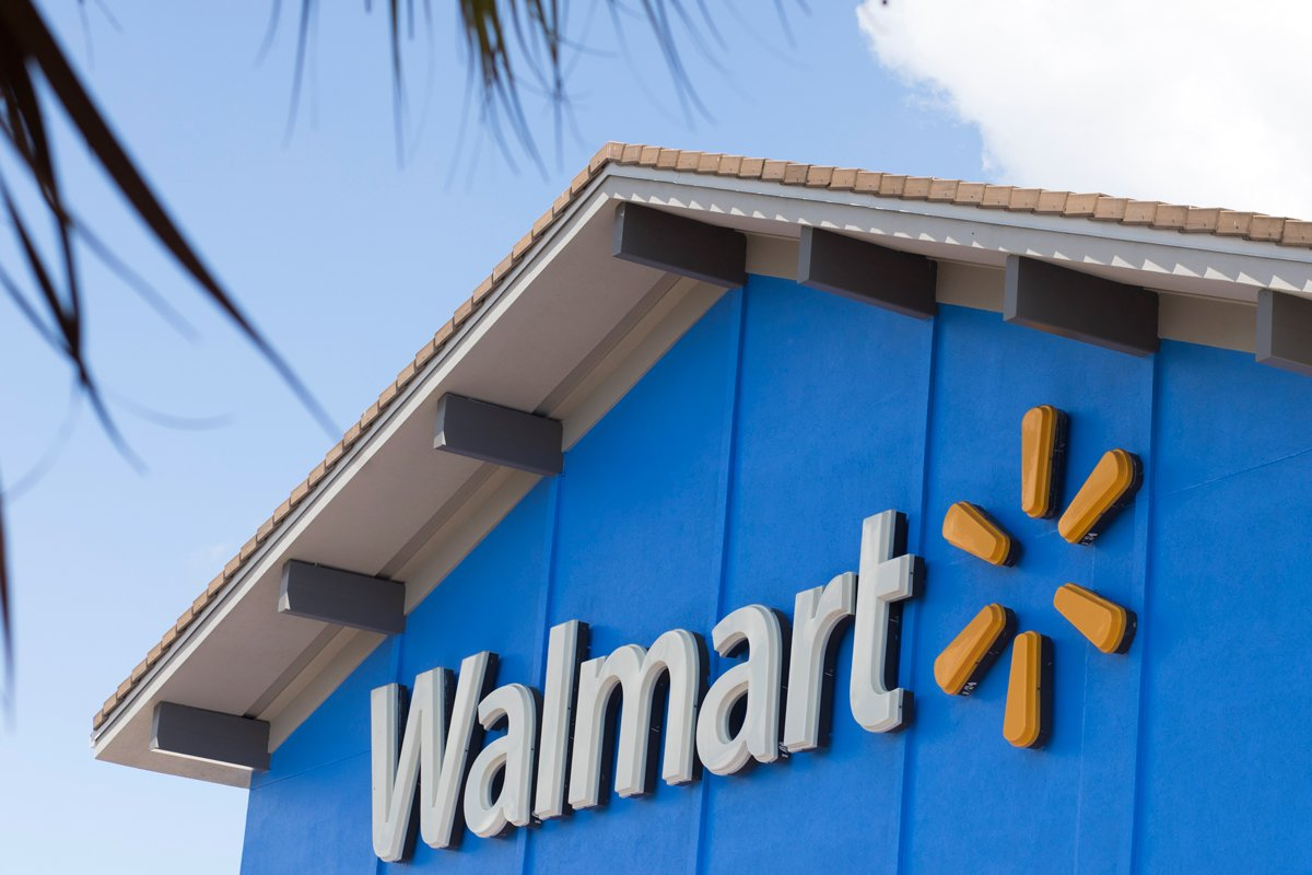 The Walmart sign is shown in this photo.
