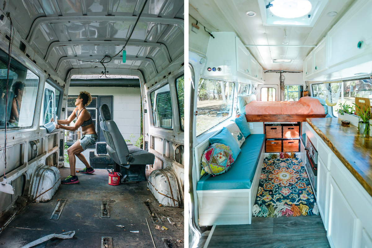 The before and after photos of a renovated van that a married couple live in as they travel the USA.