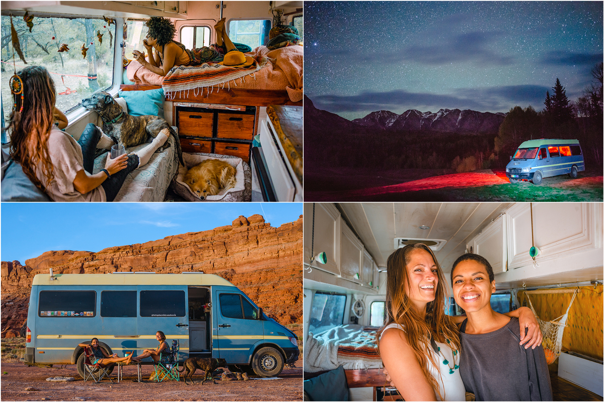 This quad of images shows a married couple's daily life while living inside a van and traveling the USA.